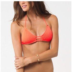 O'Neill peach smocked 2 pc swimsuit bikini